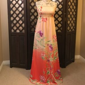 Coral and pink floral tube dress - Size Small